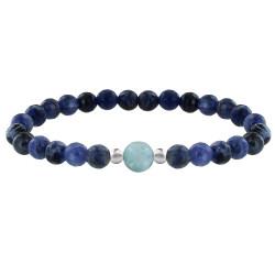 Bracelet Femme Perles Sodalite Une Perle de Larimar et Deux Perles Argent