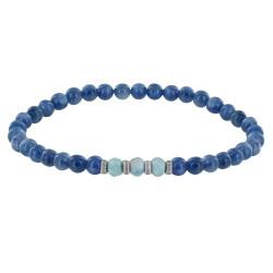 Bracelet Femme Perles Cyanite Trois Anneaux de Larimar et Quatres Anneaux Zébré Argent