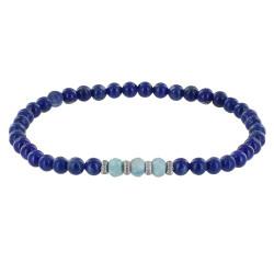 Bracelet Femme Perles Sodalite Trois Anneaux de Larimar et Quatres Anneaux Zébré Argent