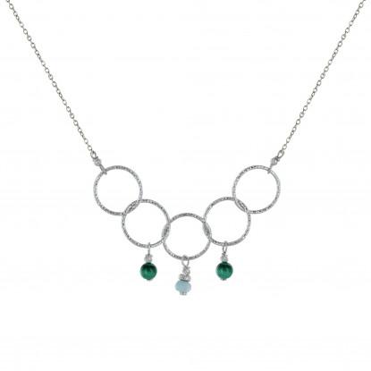 Collier Argent Rhodié Cinq Anneaux Ciselés Deux Perles de Malachite et Une Perle Facetté de Larimar