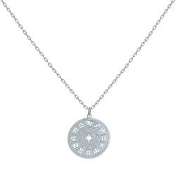 Collier Argent Médaille Ronde Symboles du Zodiaque