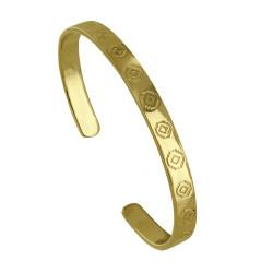 Bracelet Plaqué Or Demi Jonc Plat et Losanges Ethnique