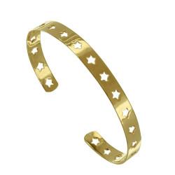 Bracelet Plaqué Or Demi Jonc Plat et Etoiles