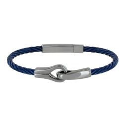 Bracelet Homme Acier Torsadé Rigide Bleu et Deux Boucles