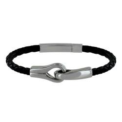 Bracelet Homme Cuir Torsadé Noir et Deux Boucles Acier