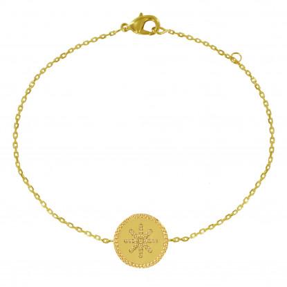 Bracelet Plaqué Or Médaille Ronde Soleil