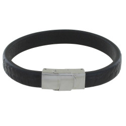 Bracelet Homme Cuir Large Noir Marquage Croco