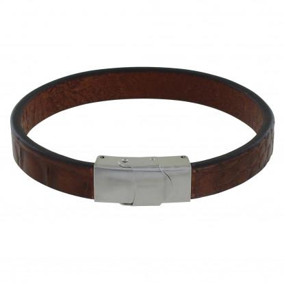 Bracelet Homme Cuir Large Marron Foncé Marquage Croco