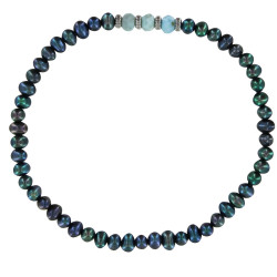 Bracelet Femme Perles Biwa Noires Trois Anneaux de Larimar et Quatres Anneaux Zébré Argent