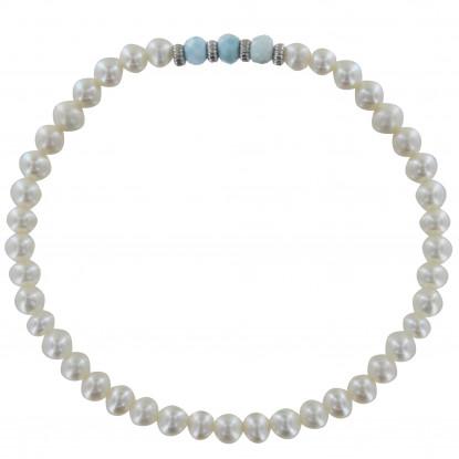 Bracelet Femme Perles Biwa Blanches Trois Anneaux de Larimar et Quatres Anneaux Zébré Argent