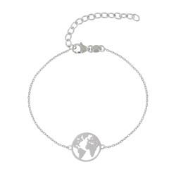 Bracelet Argent Rhodié Mappemonde