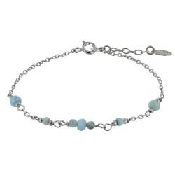 Bracelet Argent Rhodié Sept Petites Perles de Larimar Facettées