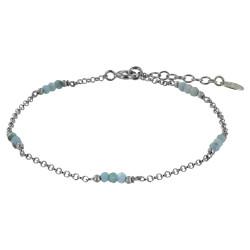 Bracelet Argent Rhodié Quinze Petites Perles de Larimar Facettées