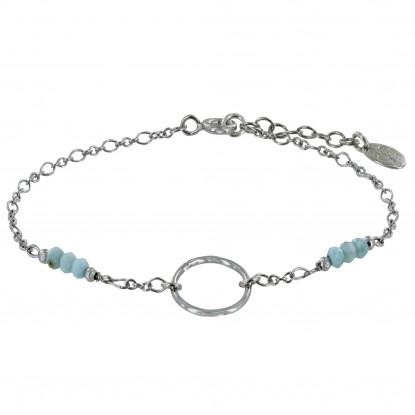 Bracelet Argent Rhodié Anneau et Six Petites Perles de Larimar Facettées