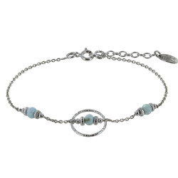 Bracelet Argent Rhodié Anneau Ciselé Trois Petites Perles de Larimar Facettées et Anneaux Zébrés