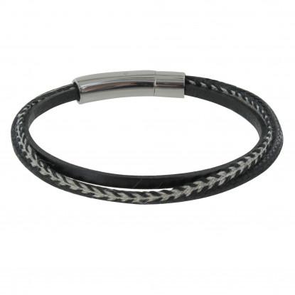 Bracelet Homme Cuir Noir Trois Liens
