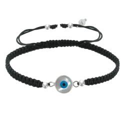 Bracelet Lien Tréssé Noir et Oeil de Nacre