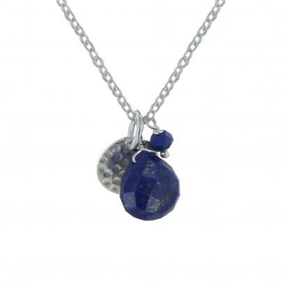 Collier Argent Pastille Martelée Briolette et Perle Facettée de Lapis Lazuli