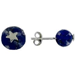 Boucles d'Oreilles Argent Etoile et Perle Facettée de Lapis Lazuli
