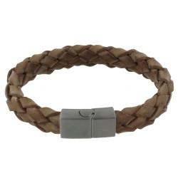 Bracelet Homme Cuir Large Tresse Marron Clair