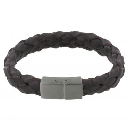 Bracelet Homme Cuir Large Tresse Marron Foncé