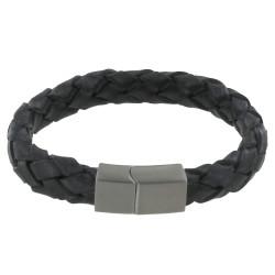 Bracelet Homme Cuir Large Tresse Gris