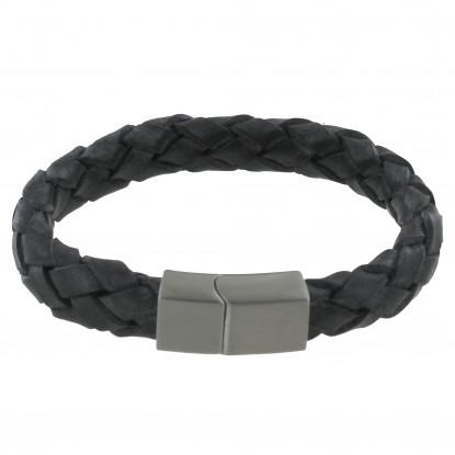 Bracelet Homme Cuir Large Tresse Noir