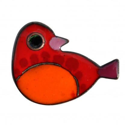 Broche Oiseau Émaillé Rouge