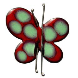 Broche Papillon Émaillé Rouge Pois Vert