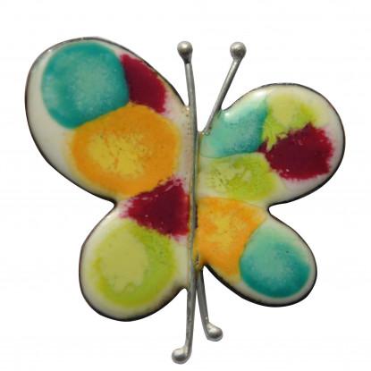 Broche Papillon émaillé Blanc Pois Multicolores