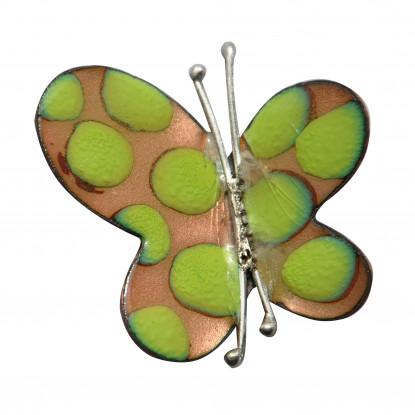 Broche Papillon émaillé Doré Pois Vert