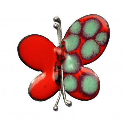 Broche Papillon émaillé Rouge et Une Aile à Pois Vert