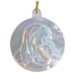 Pendentif Nacre Ronde Vierge à l'Enfant