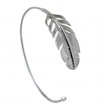 Bracelet Argent Demi Jonc Plume d'Oiseau