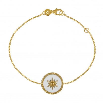 Bracelet Plaqué Or Soleil Émail Blanche