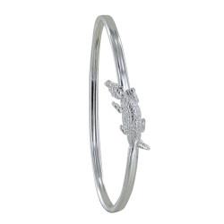 Bracelet Jonc Argent Crocodile