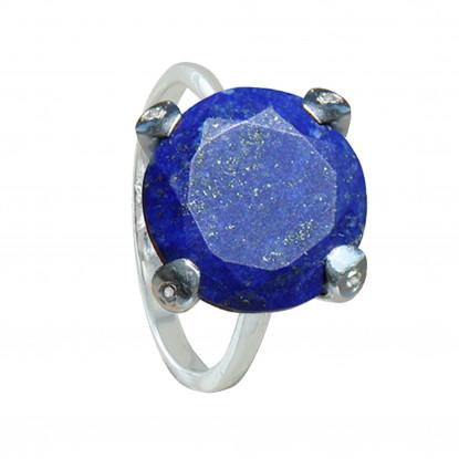 Bague Argent Joyau de Lapis Lazuli Facetté et Strass