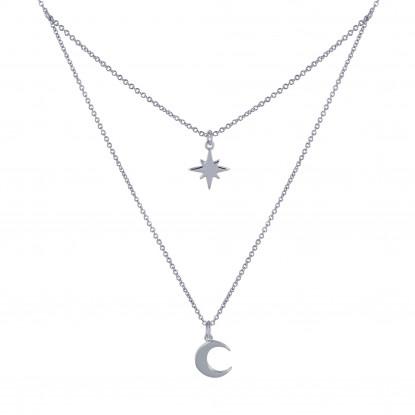 Collier Double Chaine Argent Rhodié Etoile Polaire et Croissant de Lune