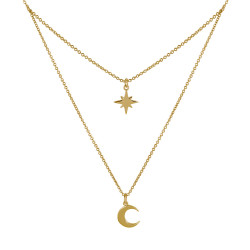 Collier Double Chaine Plaqué Or Etoile Polaire et Croissant de Lune