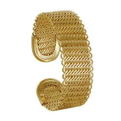 Bracelet Plaqué Or Demi Jonc Mailles Entrelacées
