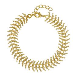 Bracelet Plaqué Or Feuillage Large