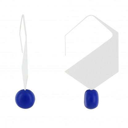 Boucles d'Oreilles Crochet Plat Métal Argenté Hexagone et Perles Céramique