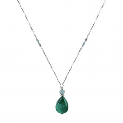 Collier Chaine Argent Rhodié Goutte de Malachite et Petites Perles de Larimar Facettées