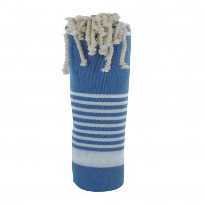 Fouta Drap Plage et Hammam Coton Couleur Bleu Bande et Petites Rayures Blanches 100 x 200cm