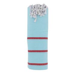 Fouta Drap Plage et Hammam Coton Couleur Bleu Ciel Petites Rayures Rouges 100 x 200cm
