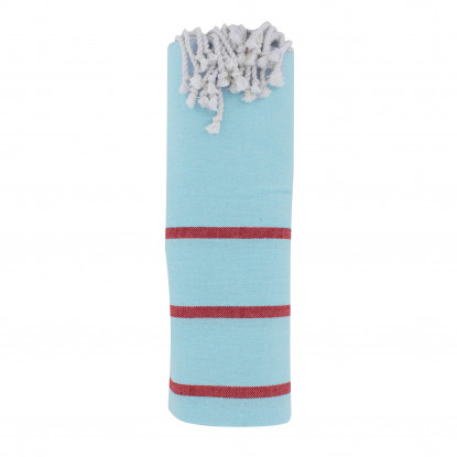 Fouta Drap Plage et Hammam Coton Couleur Bleu Ciel Petites Rayures Noires 100 x 200cm