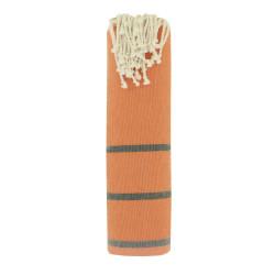 Fouta Drap Plage et Hammam Coton Couleur Orange Petites Rayures Gris Foncé 100 x 200cm