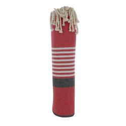 Grand Fouta Drap Plage et Hammam Coton Couleur Rouge Bande Noire Petites Rayures Blanches 150 x 250cm