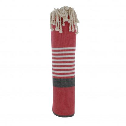 Fouta Drap Plage et Hammam Coton Couleur Rouge Bande Noire Petites Rayures Blanches 150 x 250cm