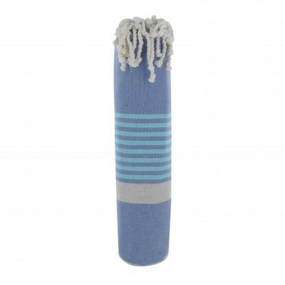 Grand Fouta Drap Plage et Hammam Coton Couleur Bleu Bande Grise Petites Rayures Bleues 150 x 250cm
